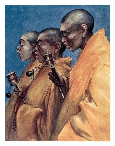 008-Lamas amarillos con ruedas de oracion-Tibet & Nepal-1905-A. H. Savage-Landor