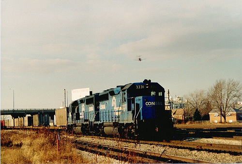 Eastbound Conrail freight waiting for clearance to depart from Clearing Yard.  Chicago Illinois.  December 1988. by Eddie from Chicago