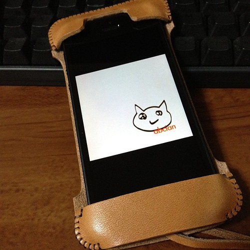 iPhone5用のabicase cawa栃木レザー飴色♪( ´θ`)ノ