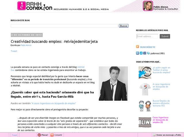 Artículo en blog - RRHH Conexión (03.10.2012) - castellano