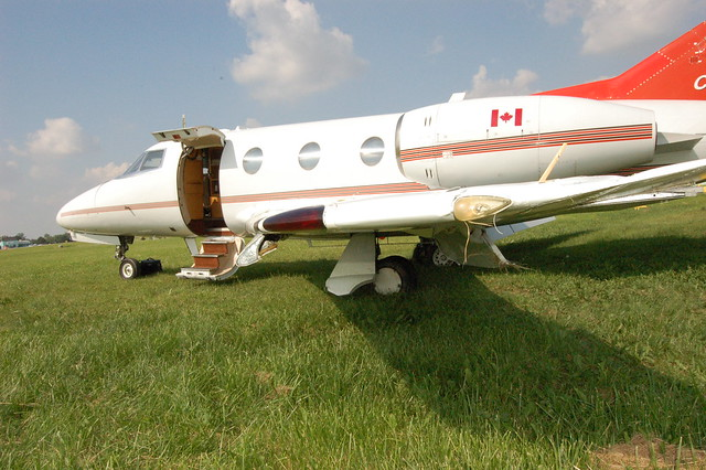 Side view of a Dassault Falcon 10 that overran the runway at Toronto/Buttonville Municipal Airport