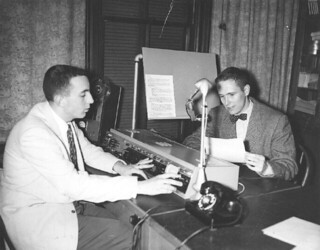 Terry Drinkwater '58 (right) delivered the first KSPC broadcast in 1956.