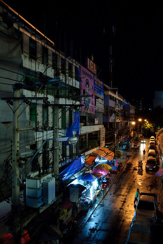 Bangkok side street at night
