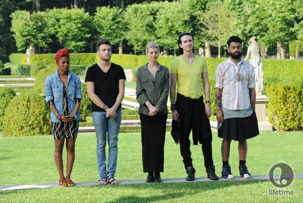 the five remaining designers standing in a fancy garden