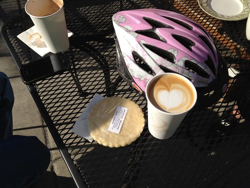 My coffee, cookie, and helmet