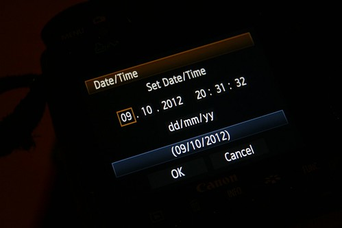 Setting the time and date on a Canon 50D