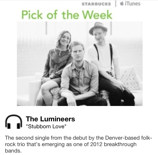 Starbucks iTunes Pick of the Week - The Lumineers - Stubborn Love