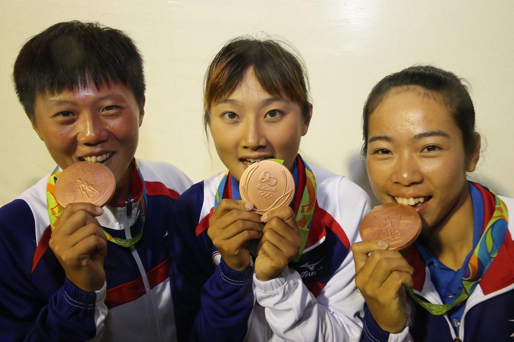 2016里約奧運射箭女子團體銅牌。(中華奧會提供。)