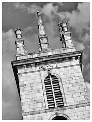 St Mary Somerset - only the tower remains of this beautiful Wren church. The body of the church was demolished in 1871. The 8 pinnacles are believed to be by Hawksmoor.