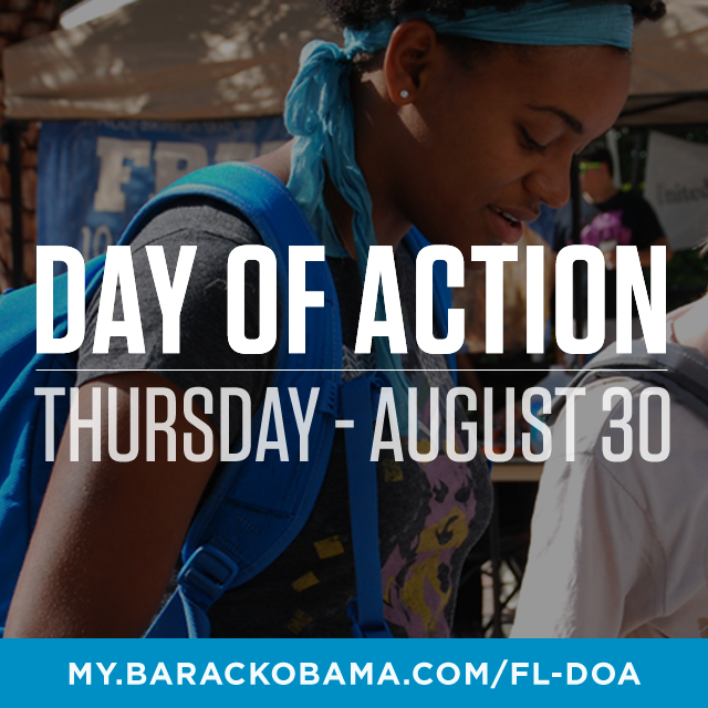 Tomorrow while Republicans are talking in Tampa, our grassroots volunteers are getting to work with a statewide Day of Action.