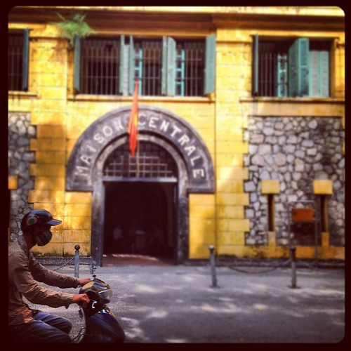 Scooting past the notorious Hanoi Hilton prison. #Vietnam #Travelingram
