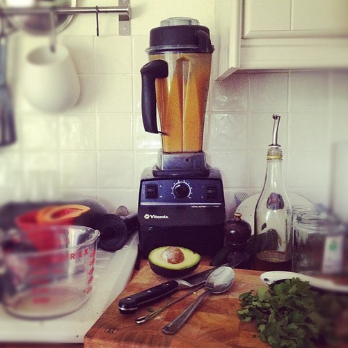 Inspired by @fussfreeflavours I am using the vitamix for the first time to make hot soup. It's loud.
