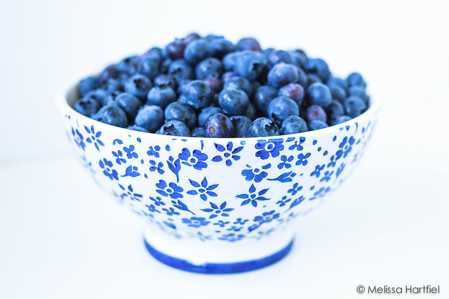 Blueberries in a blue and white bowl