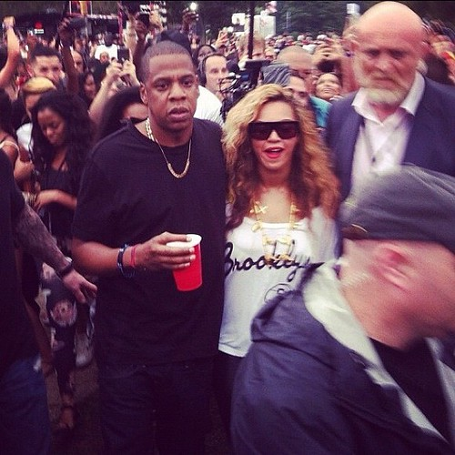 Beyonce With Jay Z In Brooklyn Nets Shirt