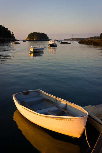 ocean morning seascape reflection water sunrise dawn islands coast harbor boat scenery quiet maine smooth scenic peaceful calm georgetown serene dinghy goldenlight fiveislands