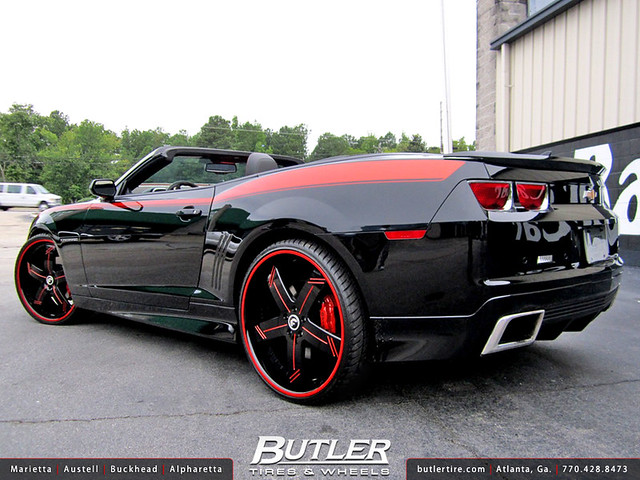 Chevy Camaro Convertible with 24in Forgiato Linee Wheels and Forgiato Grille with Halo Lights