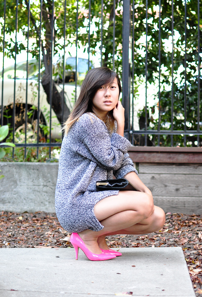 California Fashion and Personal Style blog: neon pumps, sweater, thrifted, neon pink