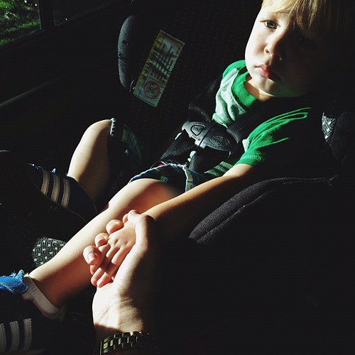 Tate begs for me to hold his hand while we're driving. He is such a sweet boy.