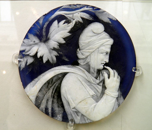 Cameo glass disc showing a pensive Priam, The Portland Vase Disc, British Museum