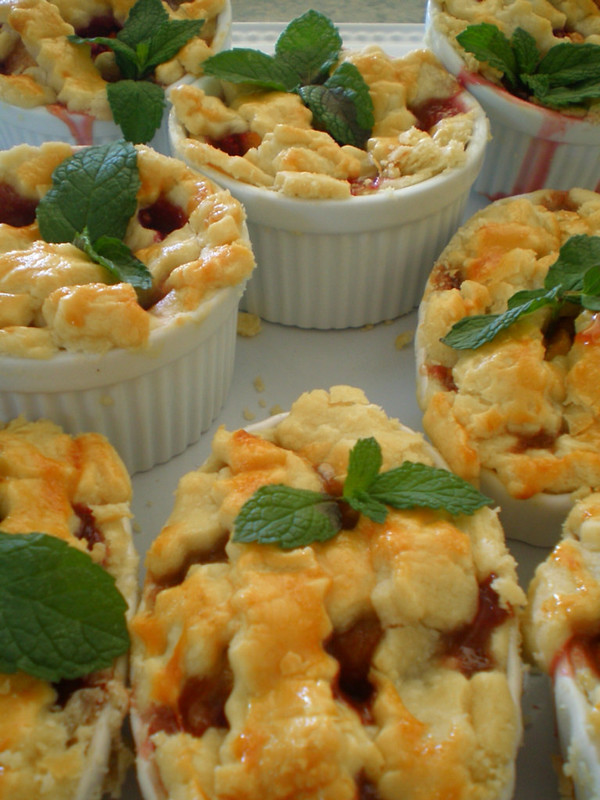 Mini peach raspberry pies, ramekins, the Style Sisters