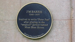 Photo of James M. Barrie and Peter Pan blue plaque