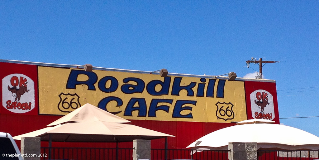 the road kill cafe sign found on route 66