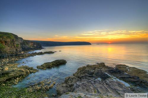 ocean uk travel blue sunset sea summer sky orange cliff sun haven water wales landscape high nikon rocks dynamic little range littlehaven hdr pembrokshire d5000