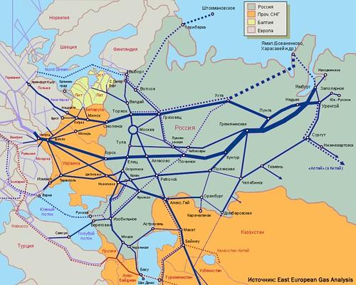 Схема ГТС России. gazofrussia1
