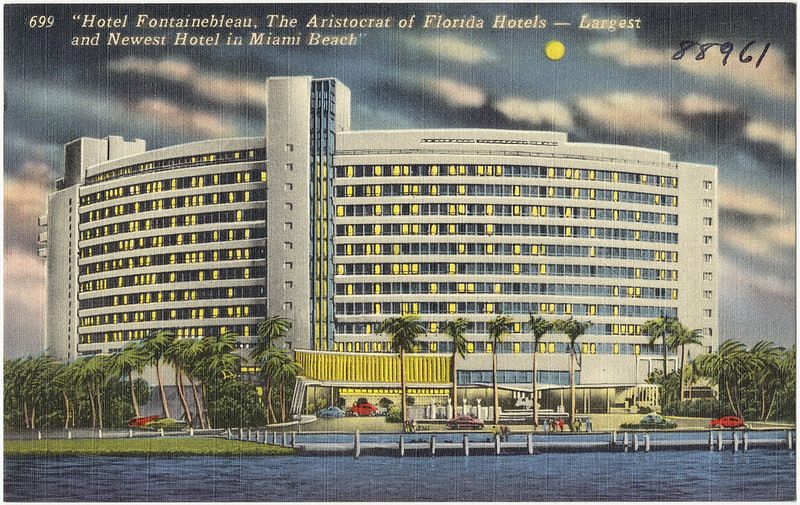 Hotel Fontainebleau, the aristocrat of Florida hotels- largest and newest hotel in Miami Beach