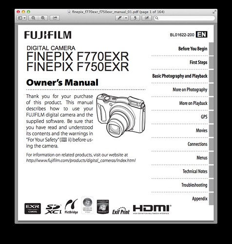 Fujifilm F750EXR Manual