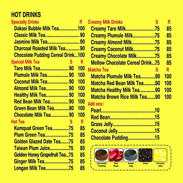 Dakasi Menu Hot Drinks
