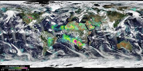 全球大氣中的氣膠濃度在近幾年不斷上升。(來源:NASA Goddard Space Flight Center)