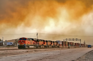 Read the link. BNSF Train under the Old Fire smoke