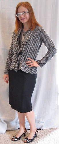 Silver Top + Skirt + Cardi
