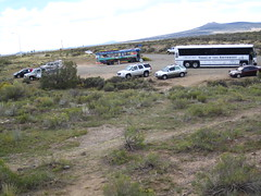 Bus stop by the Rio Grande Gorge Bridge, New Mexico