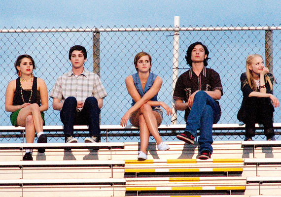 (L-R) Mae Whitman, Logan Lerman, Emma Watson, Ezra Miller and Erin Wilhelmi demonstrate THE PERKS OF BEING A WALLFLOWER.