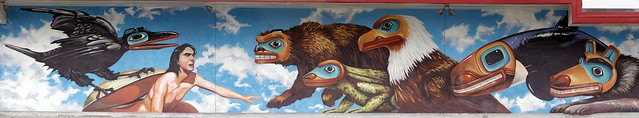 Panoramic Mural: Juneau City Hall, Tlingit local Alaskan tribe story of creation