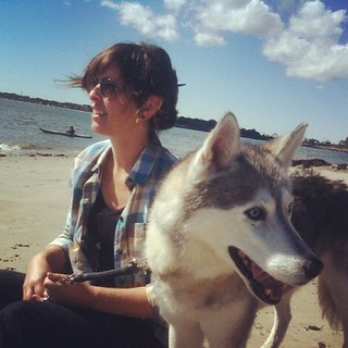 me & my best girl.  autumn beach.