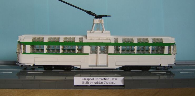 Side view of a LEGO® model of a Blackpool Coronation tram