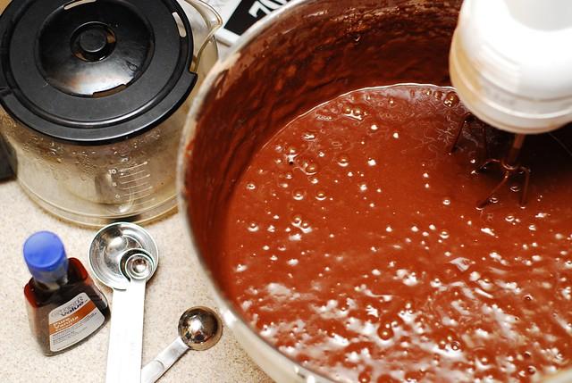 adding flour mixture to wet ingredients