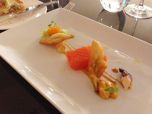 Poached Tasmanian sea trout, uni & tempura zucchini flowers