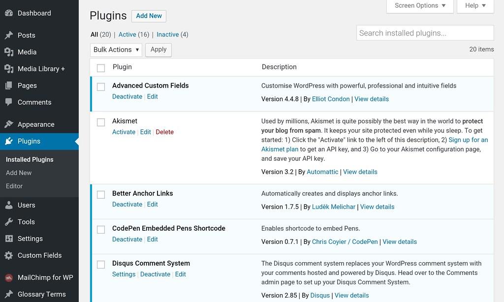 WP plugiun page