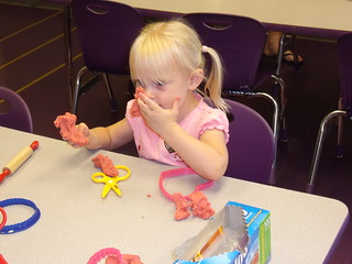 Kaitlyn age 35 months playing play-doh at a CDM class - 06-24-10