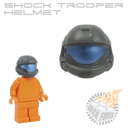 Shock Trooper Helmet - Dark Blueish Gray (cobalt visor print)