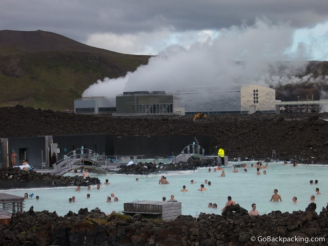 The water is heated by excess energy from the nearby geothermal power plant
