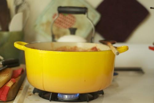 making tomato jam