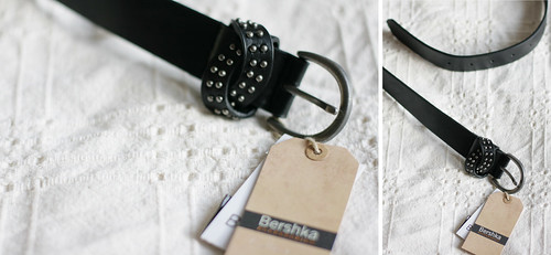 Bershka black leather belt with studs fall haul
