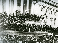 Black and white photo of President Lincoln's second inauguration