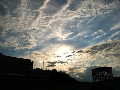 blue sunset sky sun college clouds lights football stadium uga