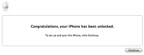Congratulations, your iPhone has been unlocked - iTunes